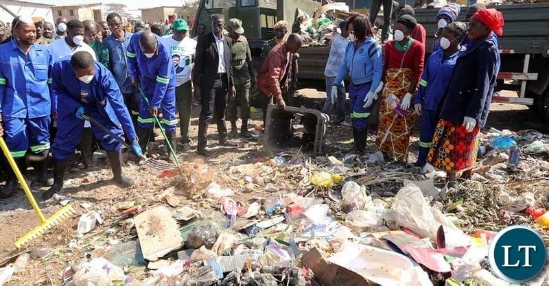 President Edgar Lungu during the Keep Zambia Clean in Chongwe