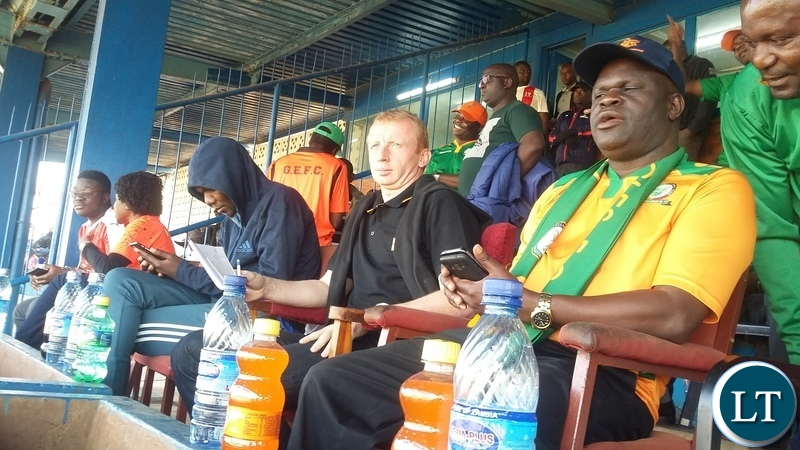 The search for the cream of players to feature in the National team has continued by the new Chipolopolo Coach Sven Vandenbroeck.In the picture, Vandenbroeck watching the game between Green Eagles and Kabwe Youth Academy (KYSA) at Godfrey Ucar Chitalu Stadium in Kabwe where Green Eagles won by 2-1.Picture by SUNDAY BWALYA/ZANIS