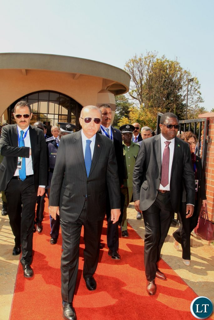 President of Turkey Recep Tayyip Erdogan pays his last respects to former Heads of State at the Embassy Park in Lusaka