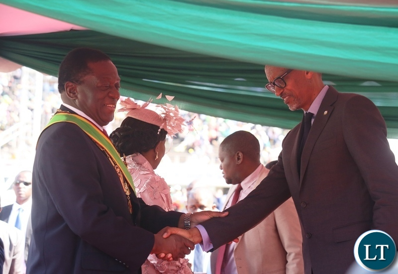 AU Chairperson who is also President of Rwanda Paul Kagami congratulates President Emmerson Mnangagwa during his inauguration ceremony