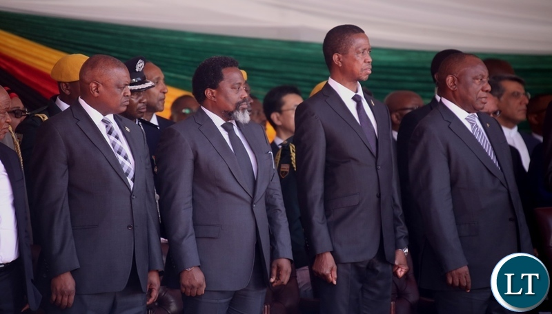 (From left to right) Botswana President Mokgweetsi Masisi, Congo DR President Joseph Kabila, President Edgar Lungu and South African President Cyril Ramaphosa follow the proceeding during President Emmerson Mnangagwa inauguration ceremony
