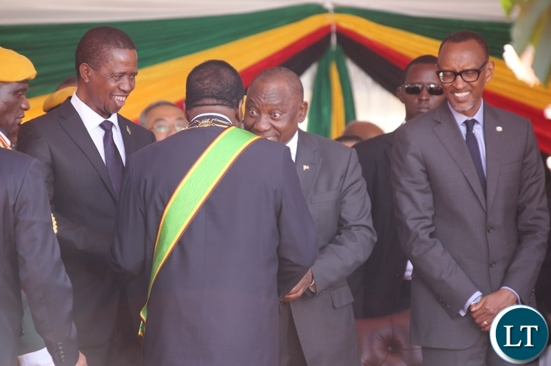President Edgar Lungu and South African President Cyril Ramaposa and AU Chairperson who is also President of Rwanda Paul Kagami congratulates President Emmerson Mnangagwa during his inauguration ceremony