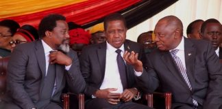 Congo DR President Joseph Kabila, President Edgar Lungu and South African President Cyril Ramaposa chats shortly before President Emmerson Mnangagwa inauguration ceremony