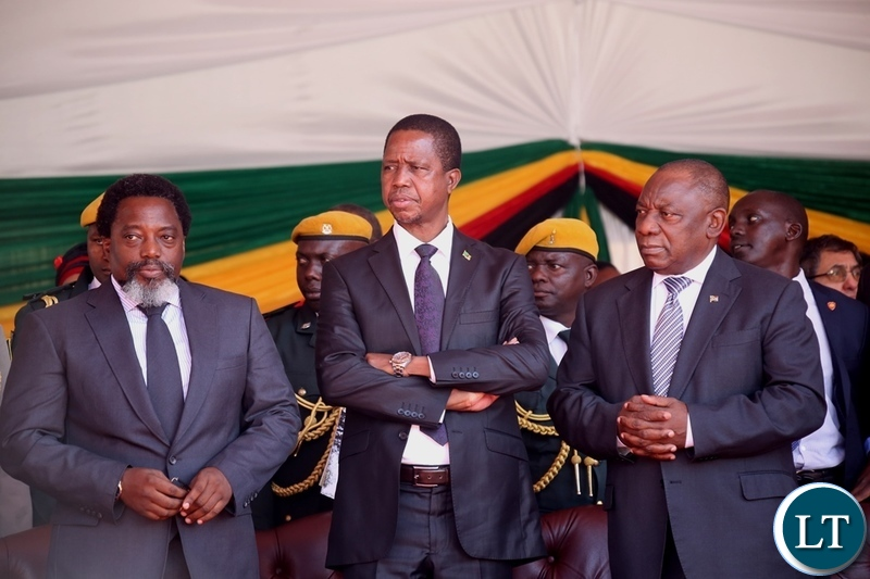 Congo DR President Joseph Kabila, President Edgar Lungu and South African President Cyril Ramaposa follow proceeding during President Emmerson Mnangagwa inauguration ceremony