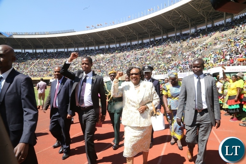 President Edgar Lungu flanked by Zimbabwe Tourism Minister Prisca Mupfumira on his arrival in the main arena at Zimbabwe National Stadium for President Emmerson Mnangagwa inauguration ceremony