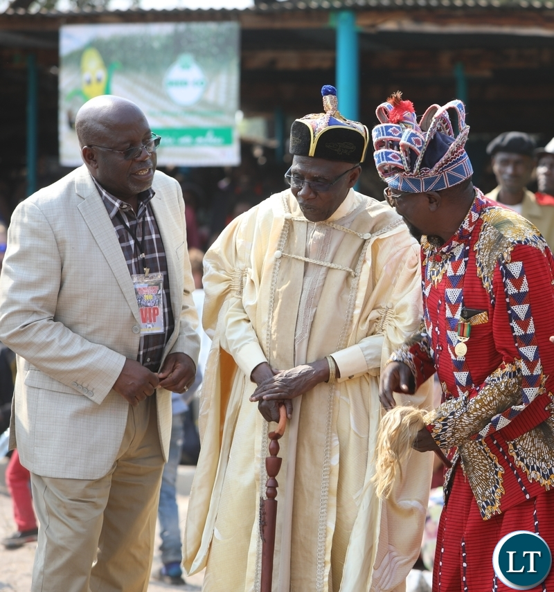 Paramount Chief Chitimukulu of the Bemba people (Middle), Chief Luchembe of the Bemba people (left) with Senior Chief Kanongesha of the Lunda people at this year's Likumbi Lya Mize Traditional Ceremony in Zambezi District on Saturday, August 25, 2018 - Pictures By Godfrey Chikumbi/ZANIS