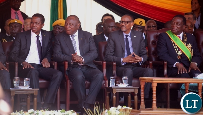(SADC of States) President Edgar Lungu, South African President Cyril Ramaposa, AU Chairperson who is also President of Rwanda Paul Kagami and President Emmerson Mnangagwa follow proceeding during inauguration ceremony