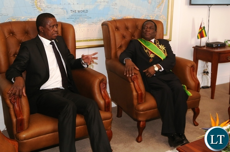 President Edgar Lungu confers with President Emmerson Mnangagwa shortly after his inauguration ceremony