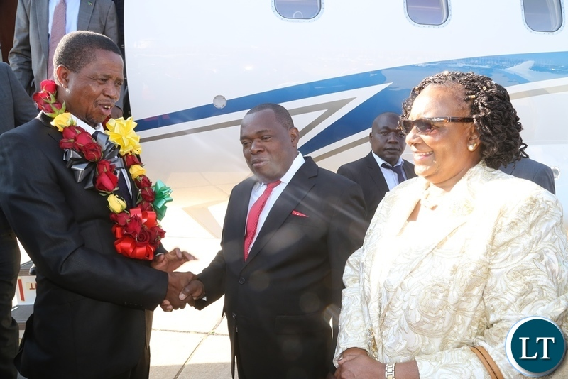President Edgar Lungu welcomed by Zimbabwe Tourism Minister Prisca Mupfumira