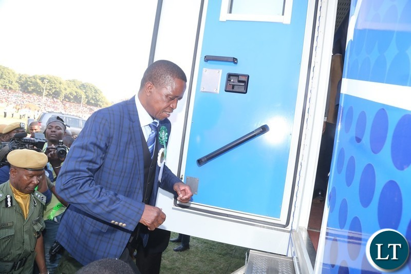 President Edgar Lungu enter ZNBC outside broadcasting vans the during the tour at the Show Grounds