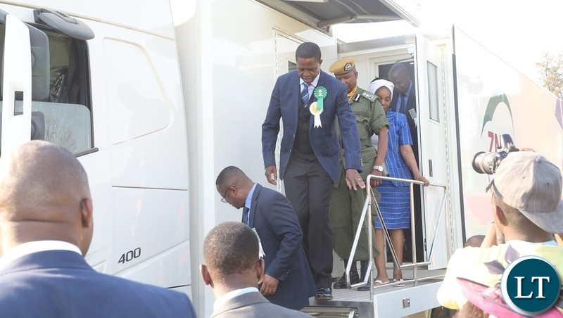 President Edgar Lungu inspecting the ZNBC outside broadcasting vans the during the tour in the Show Grounds