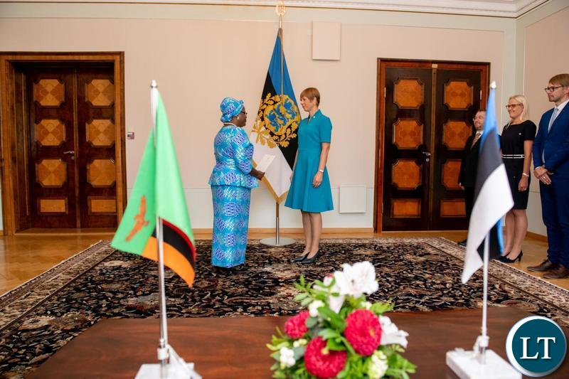 Zambia's Ambassador Extra-ordinary and Plenipotentiary to Estonia, Her Excellency Rose Salukatula presents her Letters of Credence to Estonian President Her Excellency Kersti Kaljulaid in Tallin.