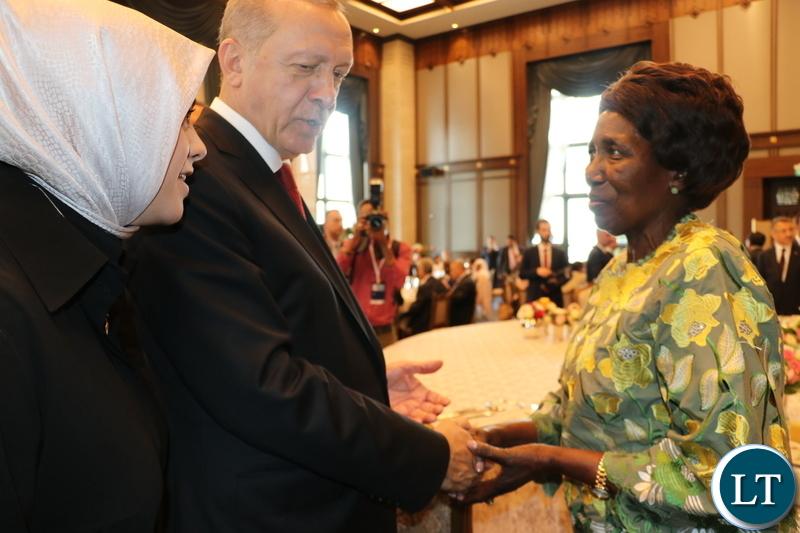 Turkish President Recep Tayyip Erdogan confers with Vice-President Inonge Wina at the Presidential Palace in Ankara on Saturday-Picture by KUNDA MANDO