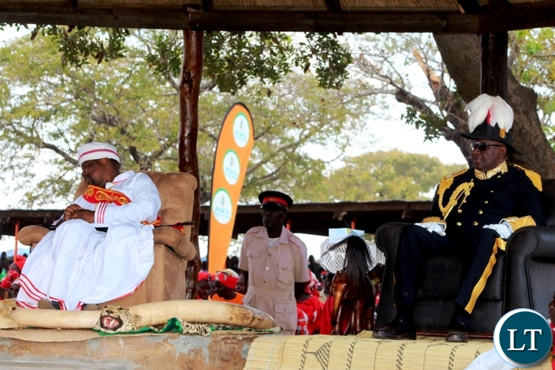 PARAMOUNT Chief Gawa Undi of the Chewa people in Zambia, Malawi and Mozambique and his guest of honour, Litunga, Lubosi Imwiko the second, of the Lozi people in Western Province, during this year's Kulamba traditional ceremony of the Chewa in Katete. PICTURE BY STEPHEN MUKOBEKO