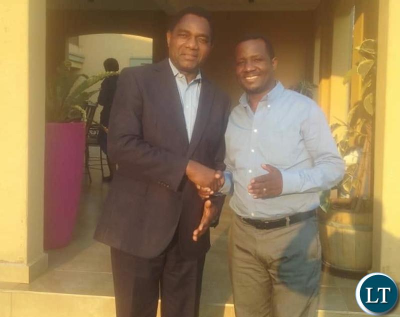 Late Divo Katete (R) with UPND President Hakainde Hichilema