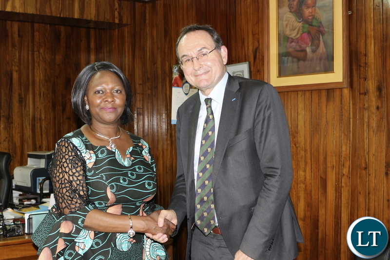MINISTER OF FINANCE MARGARET MWANAKATWE with Ambassador of France to Zambia SYLVAIN BERGER
