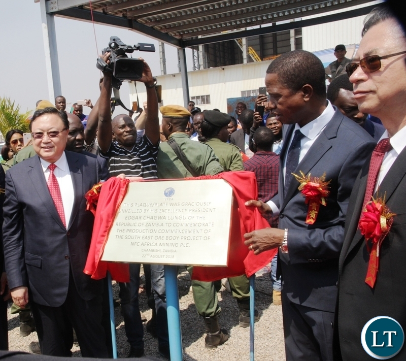 President Edgar Lungu unveiling the plaque to officially commission the NFCA mining project in Chambishi