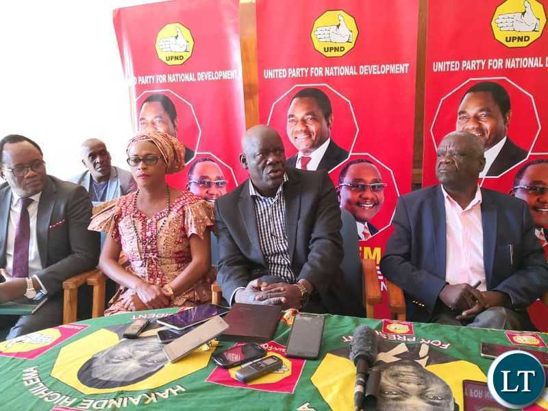 PF Secretary General Davies Mwila speaking during a joint media briefing with the UPND leadership at the UPND Secretariat