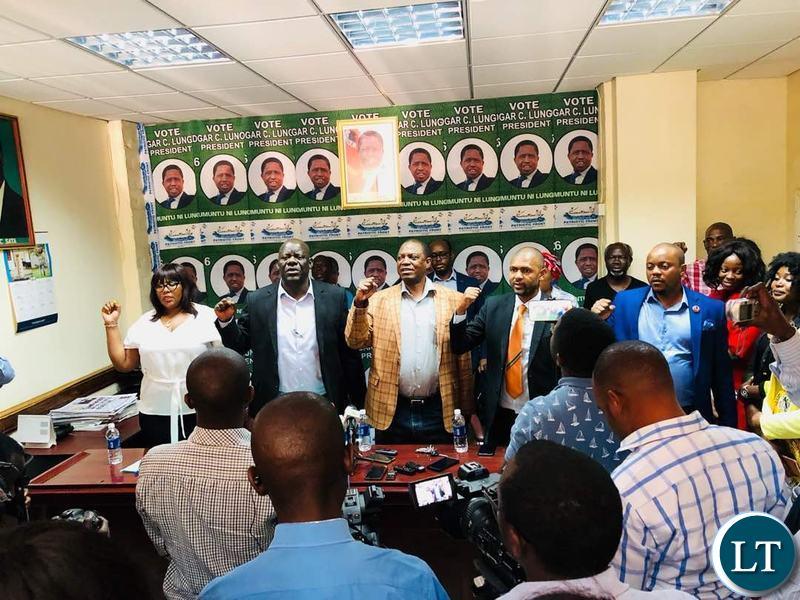 PF Leadership introducing their party candidate Sensio Banda