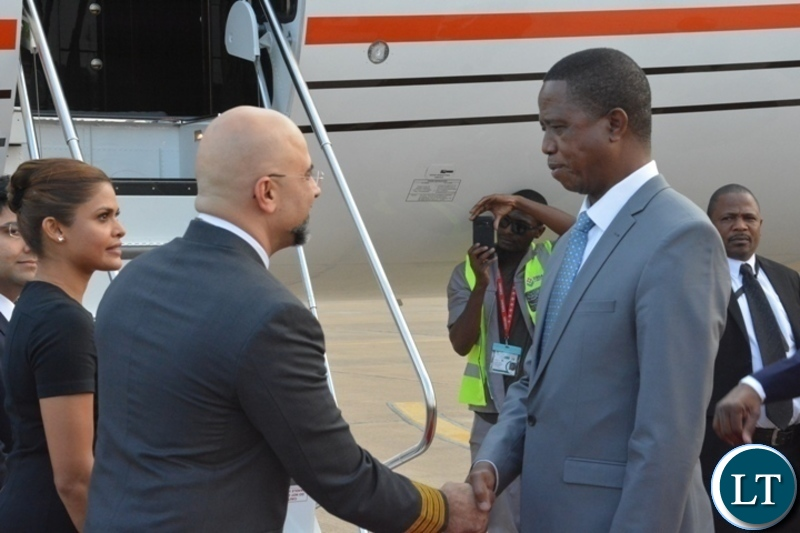 President Edgar Lungu greets Crew pilot before departure for China