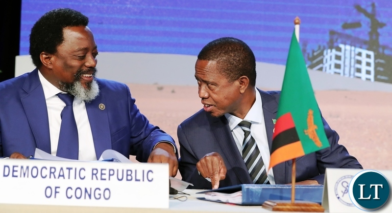President Edgar Lungu with President Joseph Kabila during the Closing ceremony of SADC Summit in Namibia