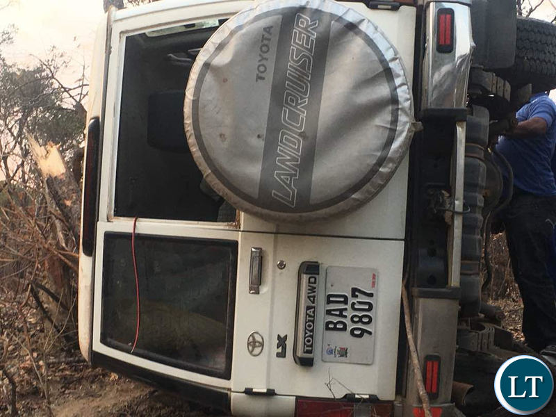 The ill fated motor vehicle which carried Mr Mweene after it carried off the road