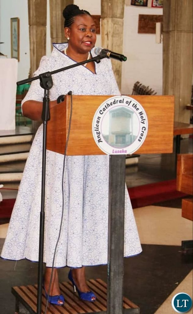 Dr Maureen Mwanawasa delivering her remarks during the memorial service