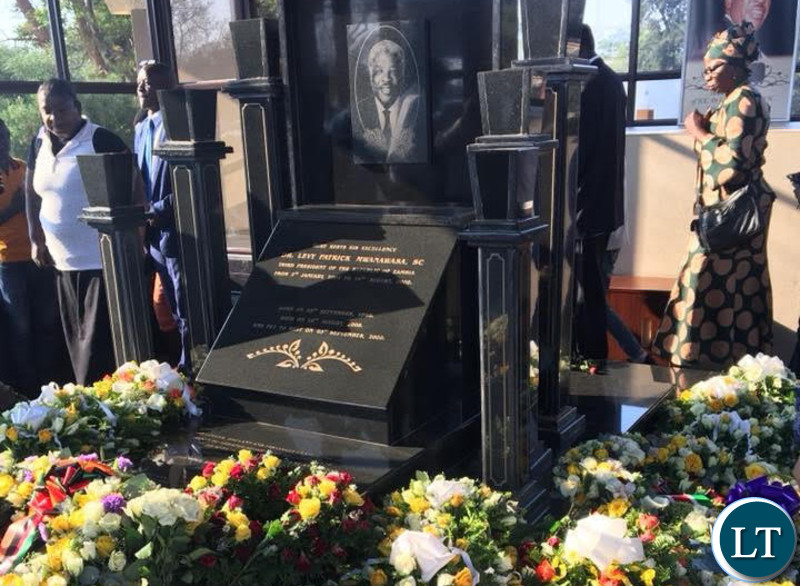Wreaths laid on Dr Mwanawasa's tomb at the Embassy Park