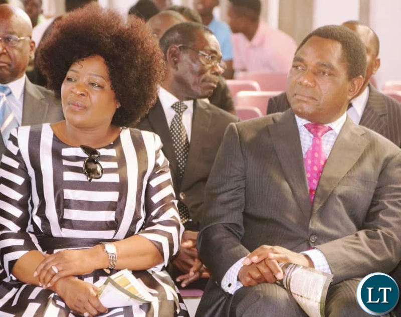HH with wife Mutinta attending Levy Mwanawasa's memorial service