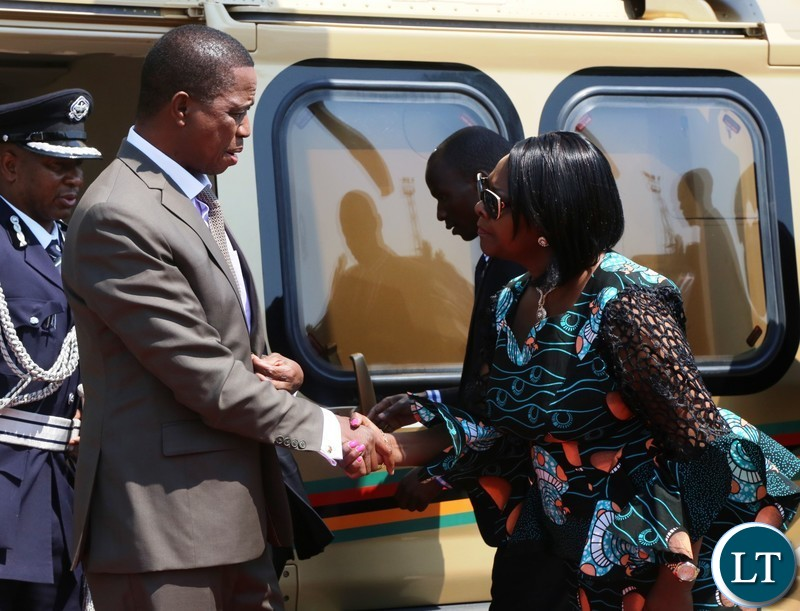 President Lungu with for Finance Minister, Margaret Mwanakatwe before departure to Namibia