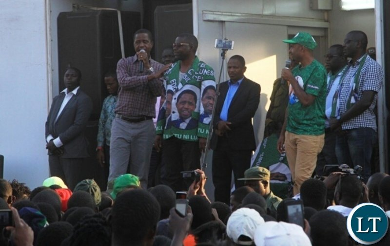 President Edgar Lungu introduces Sensio Banda who is Kasenengwa parliamentary candidate  for the bye- elections slated for september 6th .This was during a  public rally held at Chiparamba ground in Kasenengwa.Picture by SUNDAY BWALYA/ZANIS