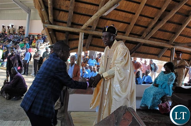 -Paramount Chief Mpezeni of the Ngoni  with  Paramount Chief Chitimukulu of the Bemba speaking people at  he Ukusefya Pa Ng'wena traditional ceremony