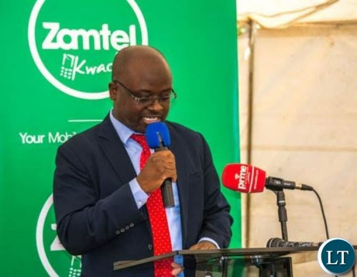 ZAMTEL CEO Sydney Mupeta speaking during the launch of a new communication tower at Kalilo in Chingola rural.