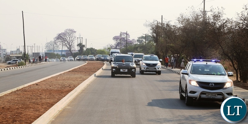 Presidential motorcade driving through the newly constructed great north road
