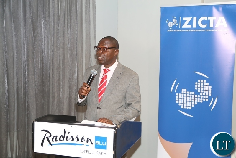 Zambia Information and Communication Technology Authority (ZICTA) Director- Economic Regulation Mulenga Chisanga delivering the speech during the ZICTA launch of the Child Sexual Abuse Portal at Radisson Blue