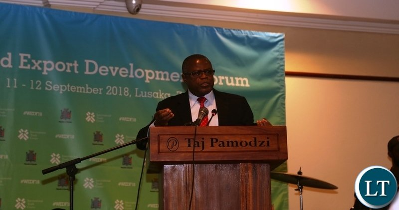 Minister of Commerce Christopher Yaluma Delivers the welcoming speech to World Export Development Forum Delegates during the Gala Dinner at Pamodzi Hotel