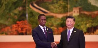 President Lungu shaking hands with Chinese president, Xi Jinping