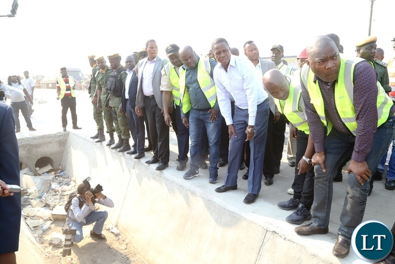 President Edgar Lungu inspecting the drainage on Mungwi roads