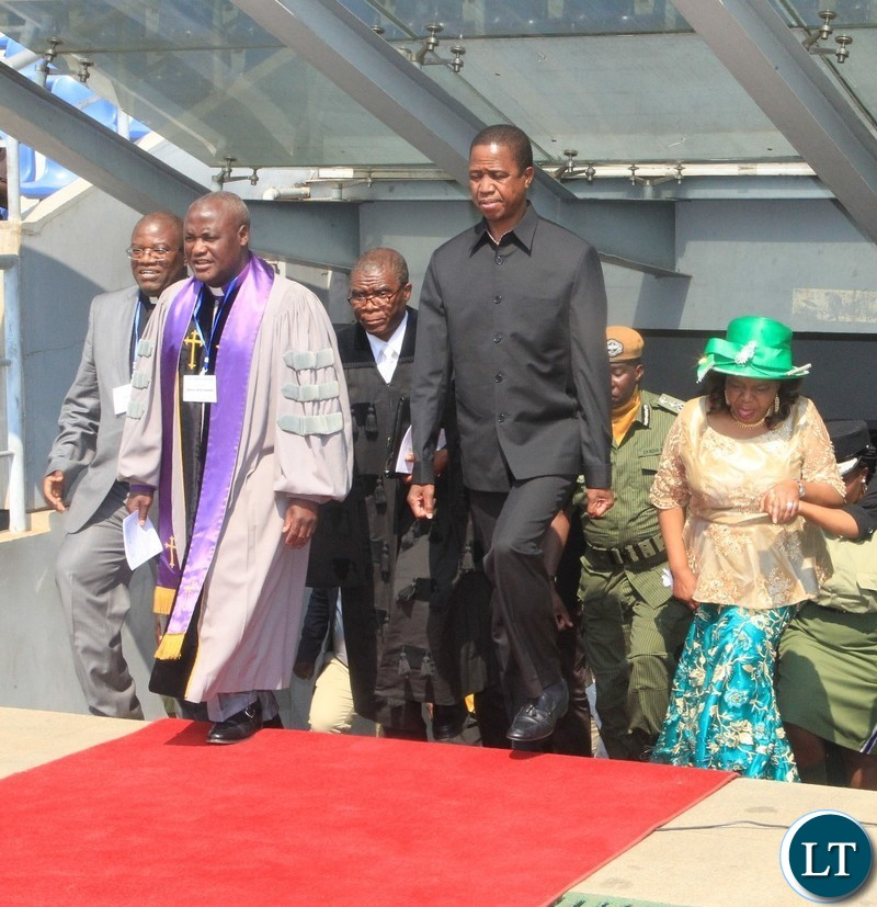 President Lungu arrives at Levy Patrick Mwanawasa Studium , accompanied by Minister Godfridah Sumaili, CCZ President Bishop Dr. Alfred Kalembo for the 70th Anniversary of the World Council of Churches (WCC).