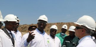 Copperbelt Minister Japhen Mwakalombe emphasising a point during his visit to KCM