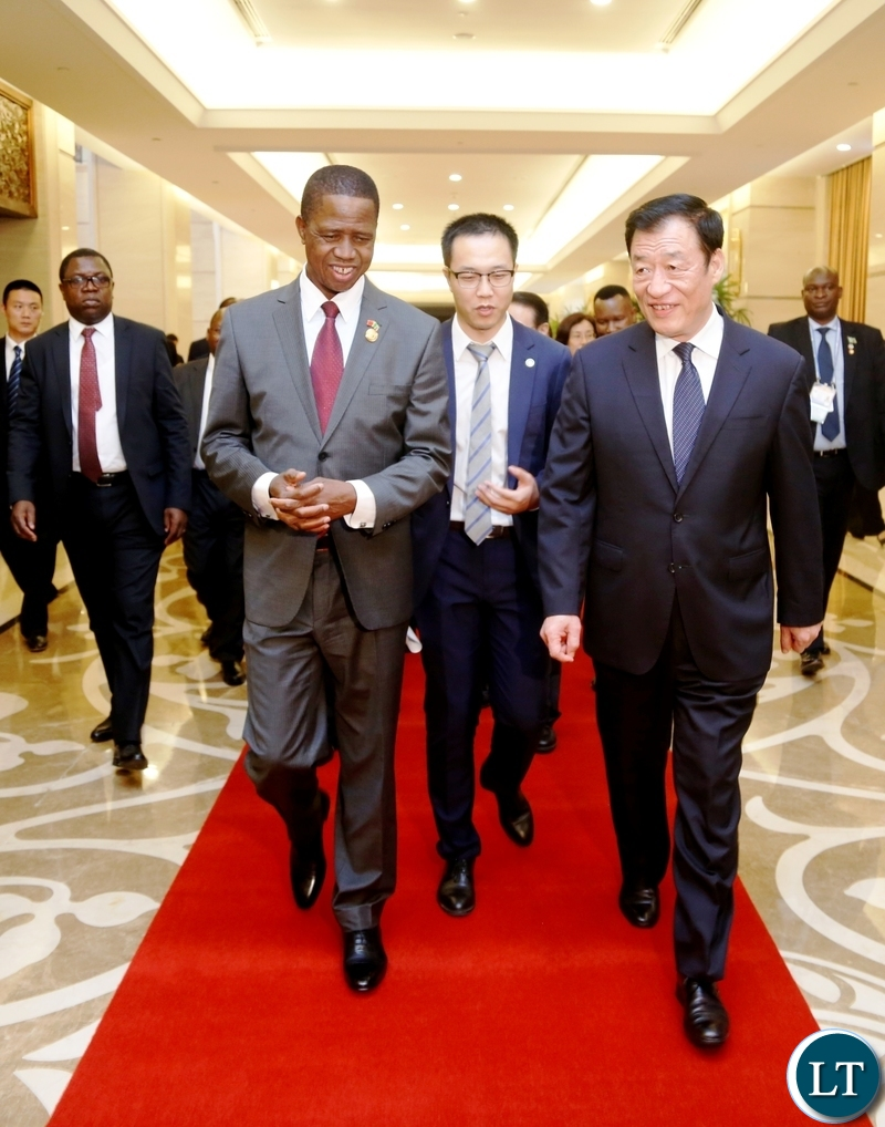 President Edgar Chagwa Lungu (second from left) walks with Lu Qi Communist Party of China Jiangxi Provincial Committee Secretary in Nanchang, Jiangxi Province, China on Wednesday, September 5, 2018. PICTURE BY SALIM HENRY/STATE HOUSE ©2018