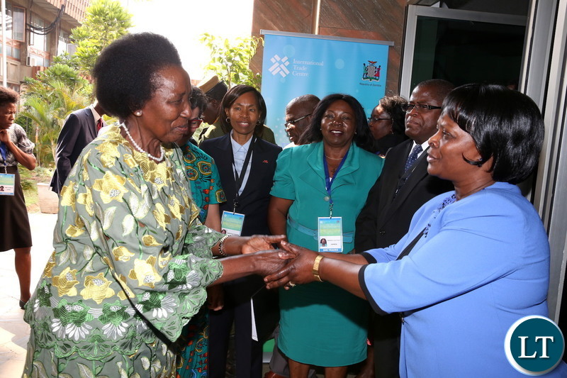Vice-President Inonge Wina bids farewell to  First Lady Esther Lungu after she officially  Launched of She Trades Zambia Chapter at Mulungushi International Conference Cemtre in Lusaka on Monday, Sept 10,2018-Picture by THOMAS NSAMA