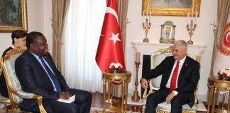 Zambia's Ambassador to the Republic of Turkey, Dr Joseph Chilengi with Speaker of the Grand National Assembly of the Republic of Turkey, Binali Yildirim in Ankara