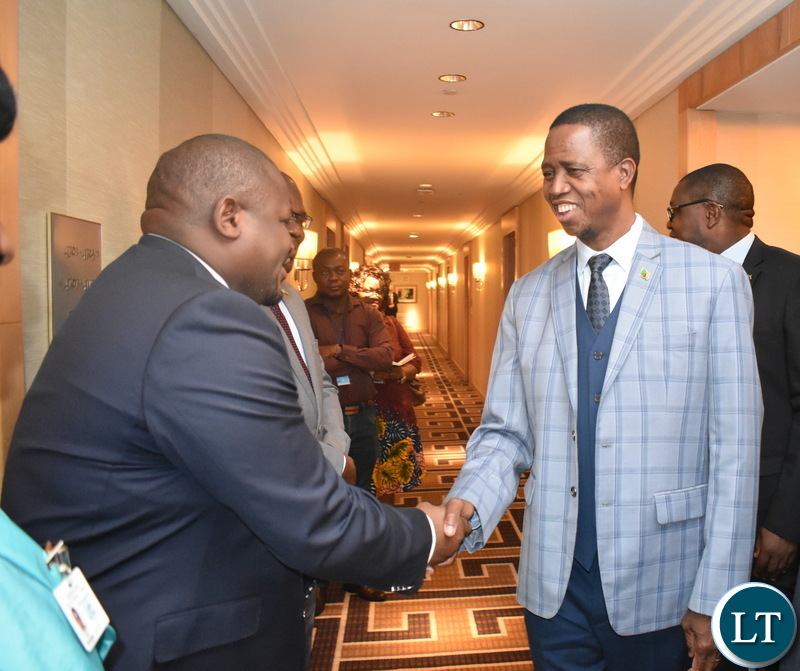 Minister Alexander Chiteme welcoming President Edgar Lungu to UN General Assembly 23-09-2018