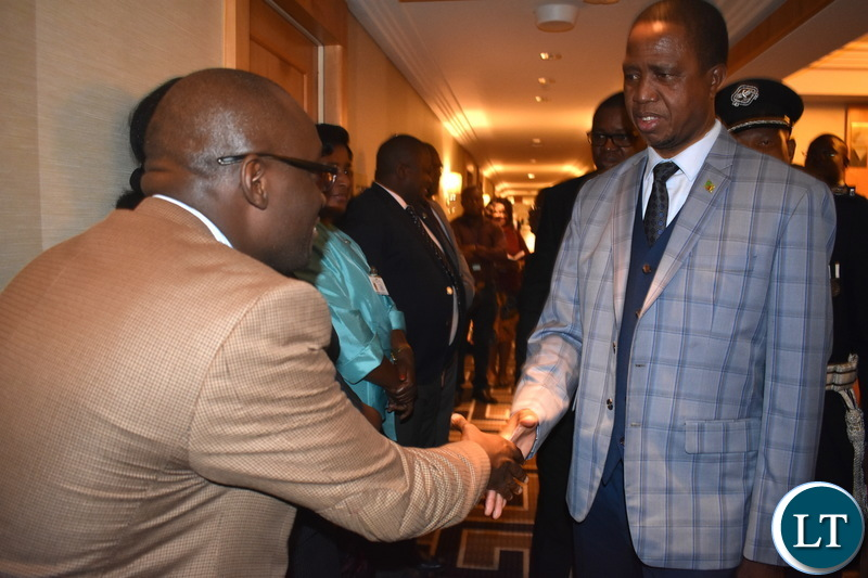"Ministry of National Development Planning Permanent Secretary Mushuma Mulenga (brown jacket) welcoming His Excellency Mr. Edgar Chagwa Lungu, President of Zambia, at New York Palace Hotel in New York, USA on Sunday 23 September 2018. President Lungu and his delegation are in New York to participate in the 73rd UN General Assembly High-Level Segment. The theme of the General Assembly is: ""Making the United Nations relevant to All people: Global leadership and shared responsibilities for peaceful, equitable and sustainable societies."" Photos 