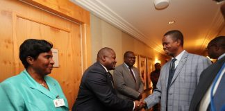 "Minister of National Development Planning Hon. Alexander Chiteme, Minister of Health Dr Chitalu Chilufya and Minister Gender Hon. Elizabeth Phiri welcoming His Excellency Mr. Edgar Chagwa Lungu, President of Zambia, at New York Palace Hotel in New York, USA on Sunday 23 September 2018. President Lungu and his delegation are in New York to participate in the 73rd UN General Assembly High-Level Segment. The theme of the General Assembly is: ""Making the United Nations relevant to All people: Global leadership and shared responsibilities for peaceful, equitable and sustainable societies."" Photos 
