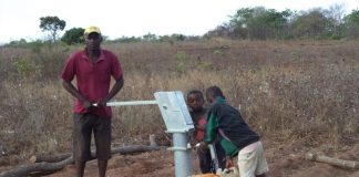 Borehole used by many people in places where there is no council provided water pipe system