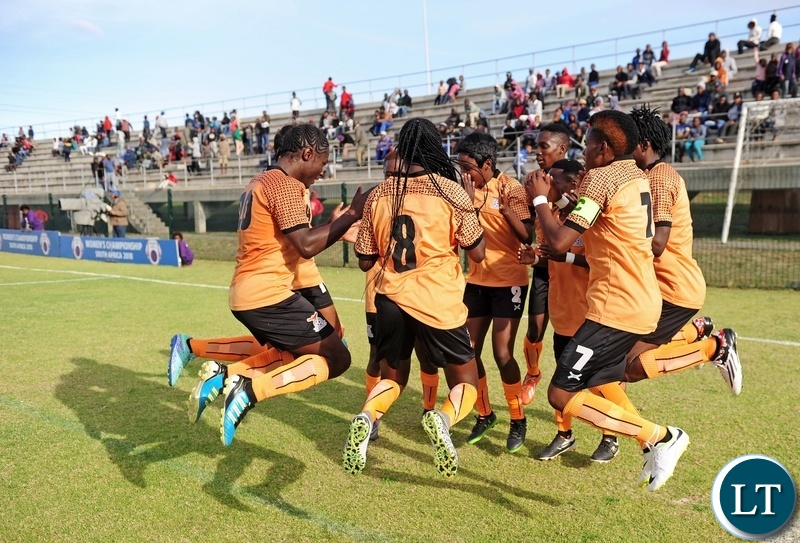 Zambia players celebrate a goal scored by Lushomo Mweemba (2) during the 2018 Cosafa Womens Championship game between Zambia and Cameroon at Wolfson Stadium in Port Elizabeth on 15 September 2018 © Ryan Wilkisky/BackpagePix