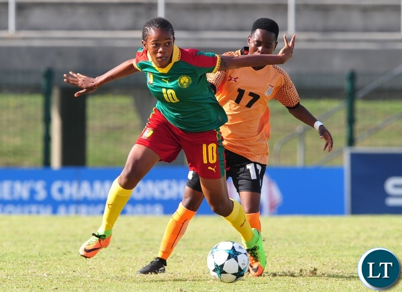 Charlene Yverna Meyong Menene of Cameroon is challenged by Mary Mwakapila of Zambia during the 2018 Cosafa Womens Championship game between Zambia and Cameroon at Wolfson Stadium in Port Elizabeth on 15 September 2018 © Ryan Wilkisky/BackpagePix