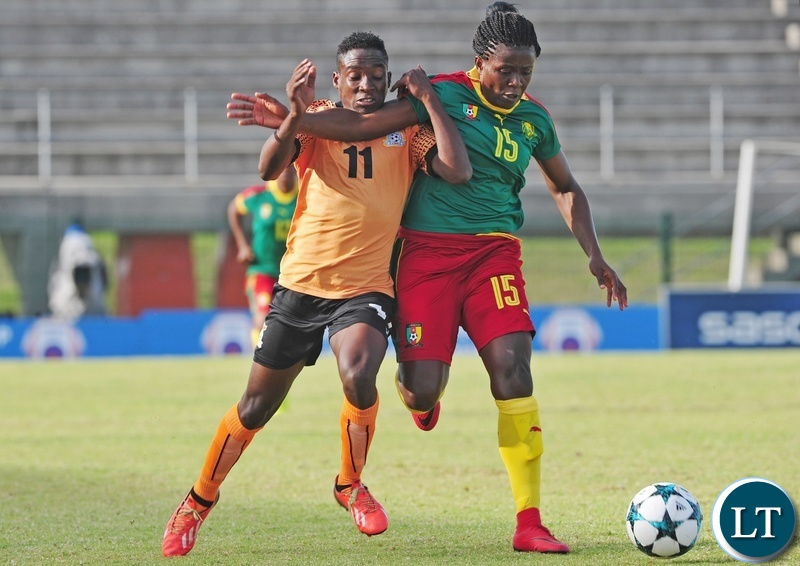 Barbra Banda of Zambia and Sonkeng Ysis Amariele of Cameroon battle for possession during the 2018 Cosafa Womens Championship game between Zambia and Cameroon at Wolfson Stadium in Port Elizabeth on 15 September 2018 © Ryan Wilkisky/BackpagePix